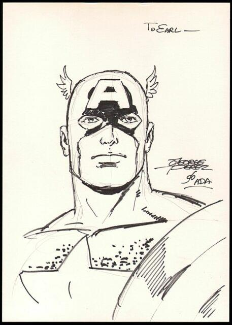 George Perez Signed Captain America Original Art Sketch Pencil And Marker Inked