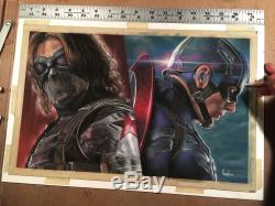 Garduno ORIGINAL Captain America Avengers Bucky drawing cover comic art