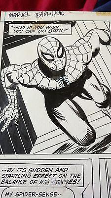 Gil Kane Spiderman original comic art marvel team-up 6 1973 splash panels