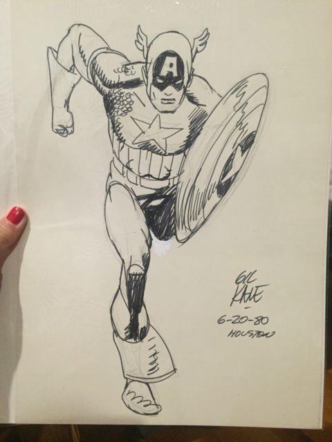 Gil Kane Original Comic Art Commision Captain America From 1980 Signed