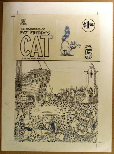 Gilbert Shelton Original Cover Art From Fat Freddy's Cat #5, 1980, Plus Book- Ex