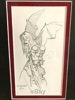 HELLBOY Mike Mignola Original Art Sketch Signed with Museum Quality Framing