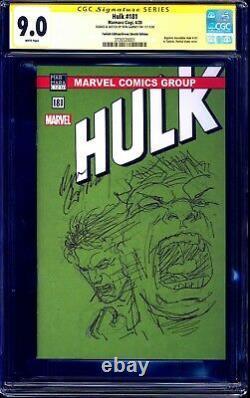 Hulk #181 TURKISH GREEN BLANK CGC SS signed ORIGINAL HULK SKETCH Ron Garney
