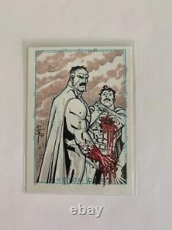 Invincible Omni-Man vs Superman sketch card original art by Ryan Ottley Amazon