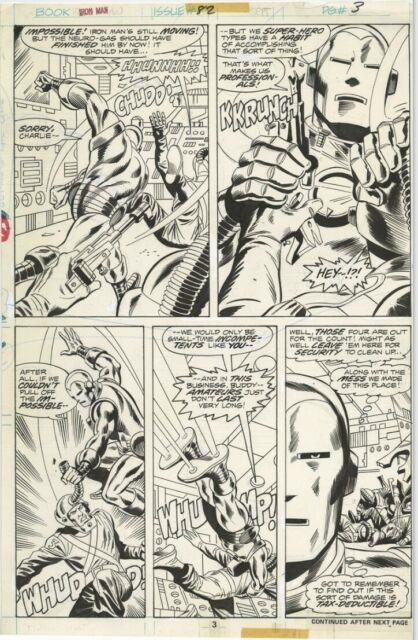Iron Man #82 Page 3 Original Art Herb Trimpe Ba Awesome Action Pg