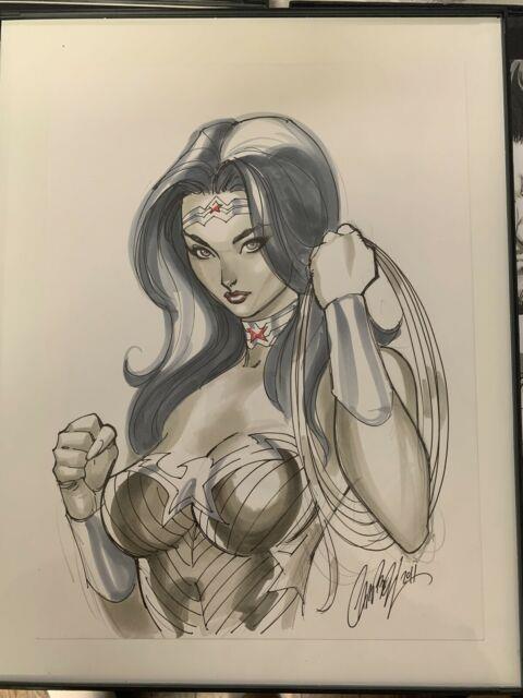 J Scott Campbell Jsc Original Art Sketch Of Wonder Woman Dc Comics