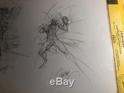 J. Scott Campbell Original Art Sketch- Spider-Man- Iron Fist 9x12 CGC SS RARE