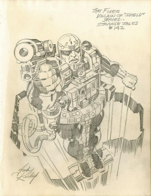 Jack Kirby Heroes & Villains The Fixer Original Comic Art Strange Tales Shield