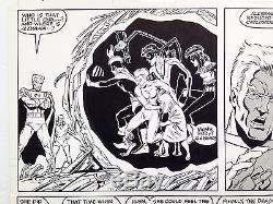 JOHN BYRNE NEW MUTANTS #75 p13, 1989, BOB McLEOD, FULL TEAM HALF SPLASH, SIGNED