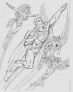 JOHN BYRNE Pencil & Ink ORIGINAL ART Art for Painted Superhero Wall Mural (1996)