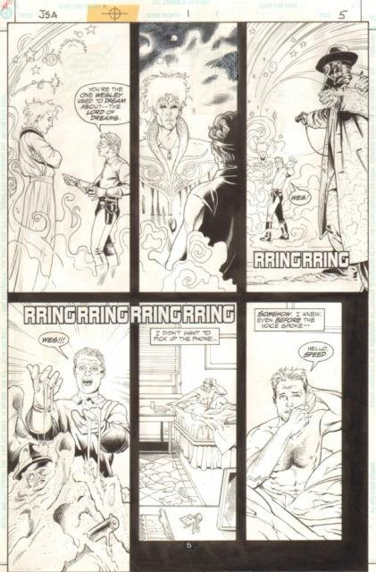 Jsa #1 P. 5 Neil Gaiman's Sandman App 1999 Art By Steve Sadowsky