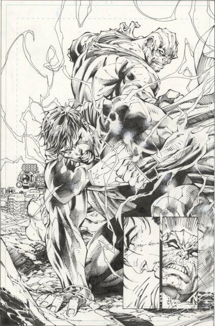 Jim Lee Superman Unchained #3 Splash Epic Battle Page 3 Original Art (2013, Dc)