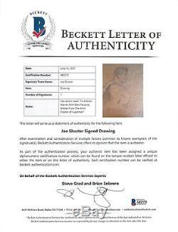 Joe Shuster Best Wishes Authentic Signed Superman Original Art Sketch BAS