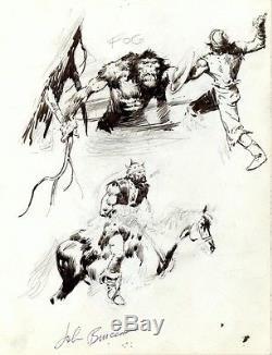 John BUSCEMA 5x ORIGINAL ART CONAN MONSTER Swamp Thing Barbarian