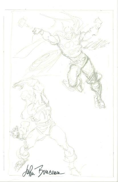 John Buscema Captain America Vs Thor Commission Prelim Original Art Signed Htf