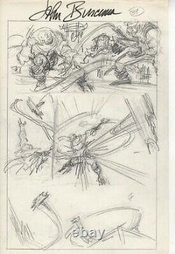 John Buscema original pencil The AVENGERS! Captain America/ Thors hammer idea