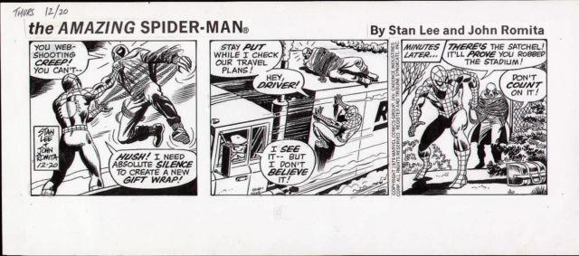 John Romita 1979 Amazing Spiderman Original Newspaper Comic Strip Art Stan Lee