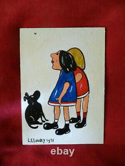 L S Lowry funny painting of Two Little Girls, a Dog and a Fly, Northern Art