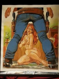 La Ley Del Revolver 49 Original Mexican Adult Comic Cover Art Sexy Painting