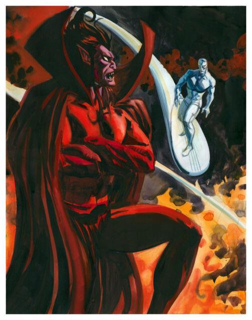 Mephisto / Silver Surfer Framed Original Comic Art Painting By Dan Brereton