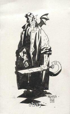 MIKE MIGNOLA 1998 HELLBOY With BAT WINGS PIN-UP ORIGINAL ART ILLUSTRATION FRAMED