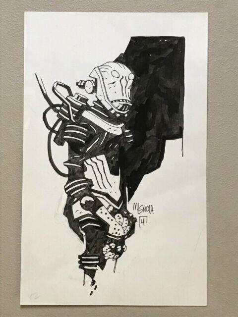 Mike Mignola Inked Drawing