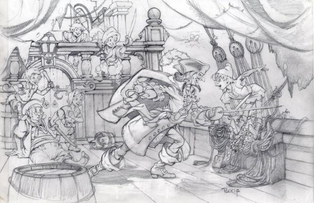 Mike Ploog Original Art Peter Pan Original Pencil Art Measures 17 X 11