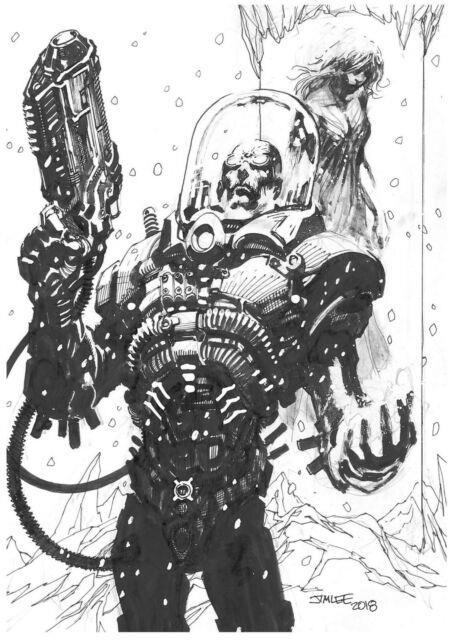 Mr. Freeze Dc Comics Original Art Sketch By Jim Lee Batman Rogue