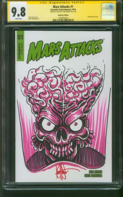 Mars Attacks 1 Cgc 9.8 Ss Ken Haeser Original Art Sketch Variant Dynamite
