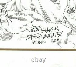 Marvel Captain America B/w Litho Joe Simon Hand Signed Jack Kirby Sticker Coa