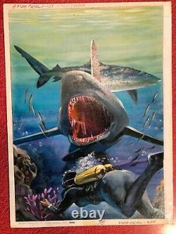 Mexican Pulp Cover Art Original Painting Illustration 1960 Horror Shark Vintage