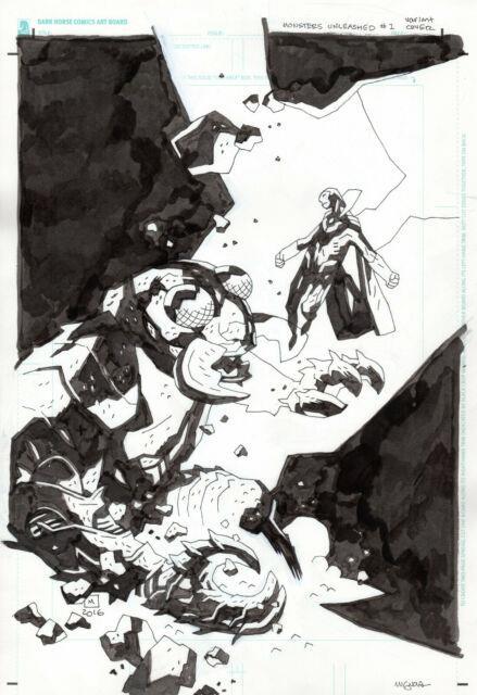 Mike Mignola Monsters Unleashed#1 Variant Cover Original Art Marvel Hellboy