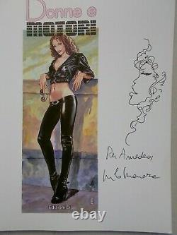 Milo Manara Dessin Original Signé, sur Donne e Motori 2003