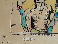 Neal Adams & John Simms Set of 8 Large ORIG JUSTICE LEAGUE Storyboard Paintings