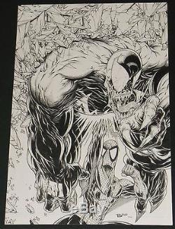ORIGINAL 11 x 17 PENCIL SKETCH AMAZING SPIDERMAN VENOM BY JAMIE BIGGS 328