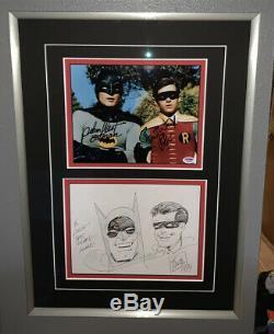 ORIGINAL ART DRAWING Batman Robin BOB KANE Adam West Burt Ward SIGNED FRAMED PSA