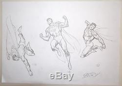 ORIGINAL ARTWORK SUPERMAN MODEL SHEET 2 w 3 ACTION POSES by Artist Ivan Reis
