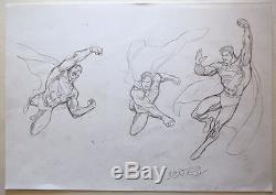 ORIGINAL ARTWORK SUPERMAN MODEL SHEET 5 w 3 ACTION POSES by Artist Ivan Reis