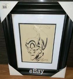 Original 1992 John Romita Sr. GREEN GOBLIN Spider-Man Sketch Autographed Framed