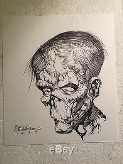 Original 1999 Bernie Wrightson The Creature Head Bust Comic Art Sketch