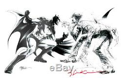 Original Art BATMAN v JOKER BILL SIENKIEWICZ 6.5x12 sketch DC comic SUPER RARE
