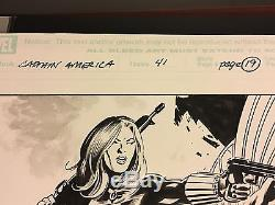 Original Art CAPTAIN AMERICA #41 p19 Vol 5 STEVE EPTING 11x17 BLACK WIDOW FALCON