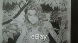 Original Art CAVEWOMAN sketch -Budd Root Rare 9x12Collectible comic art Pin-Up