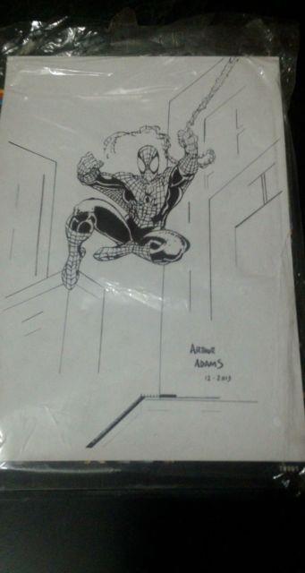 Original Art Spider-man By Arthur Adams -8.2x11.5 Pen & Pencil Sketch Super Rare