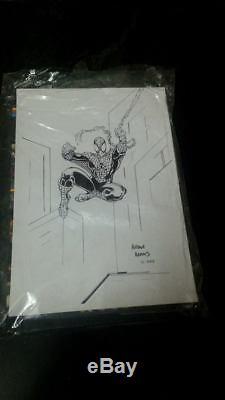 Original Art SPIDER-MAN by Arthur Adams -8.2x11.5 sketch for fan SUPER RARE