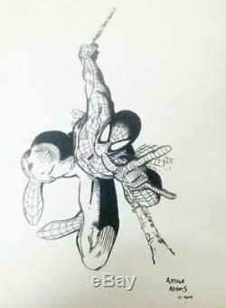 Original Art SPIDER-MAN by Arthur Adams -9x12 sketch SUPER RARE Collectible