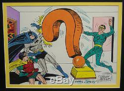 Original Art by Sheldon Shelly Moldoff. Signed. Batman, Robin, Riddler