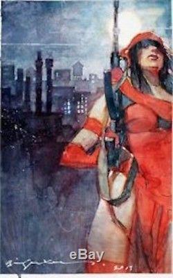 Original Artwork, Bill Sienkiewicz Elektra painting Daredevil FRAMED