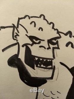 Original Comic Art Bruce Timm Convention Sketch Killer Croc BTAS 11 x 14 Signed