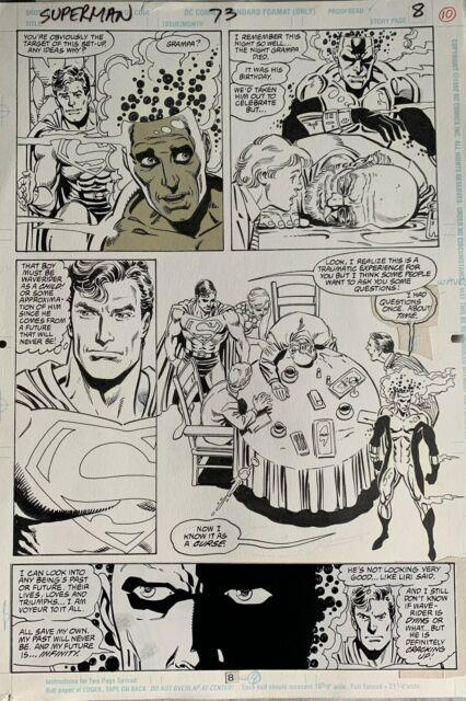 Original Comic Art Superman 73 Page 8 Jurgens / Breeding Doomsday Coming